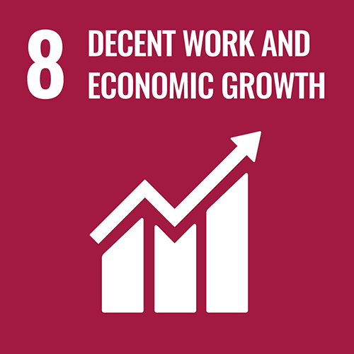 UN Sustainable Development Goals icon for DECENT WORK AND ECONOMIC GROWTH