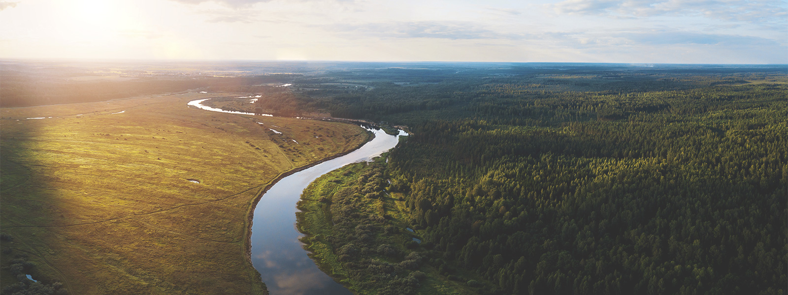 An image showing green land, a river and the horizon.